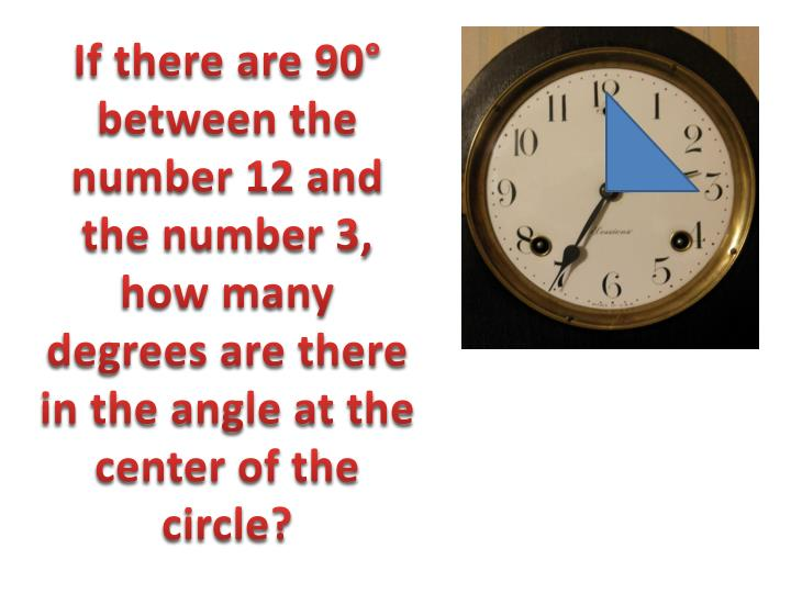 If there are 90° between the number 12 and the number 3, how many degrees are there in the angle at the center of the circle?