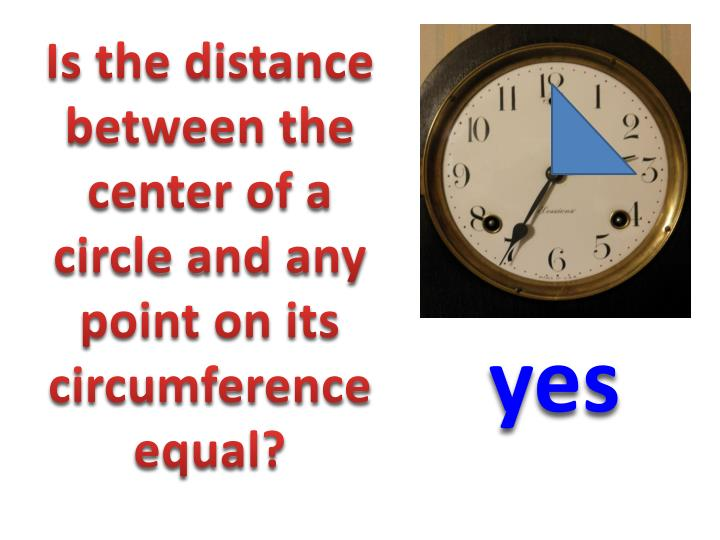 Is the distance between the center of a circle and any point on its circumference equal?