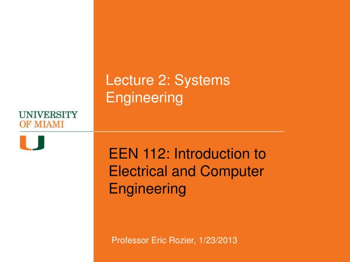 lecture 2 systems engineering