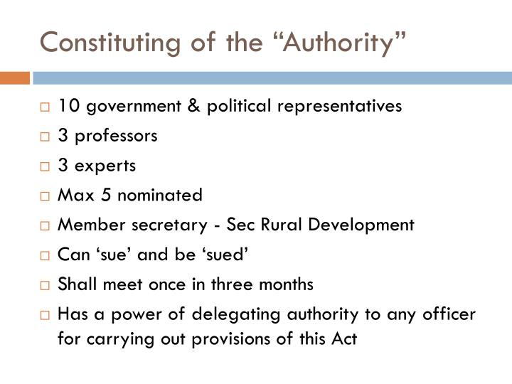 Constituting of the authority