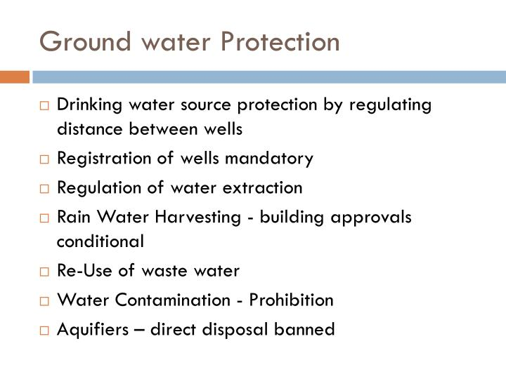 Ground water protection