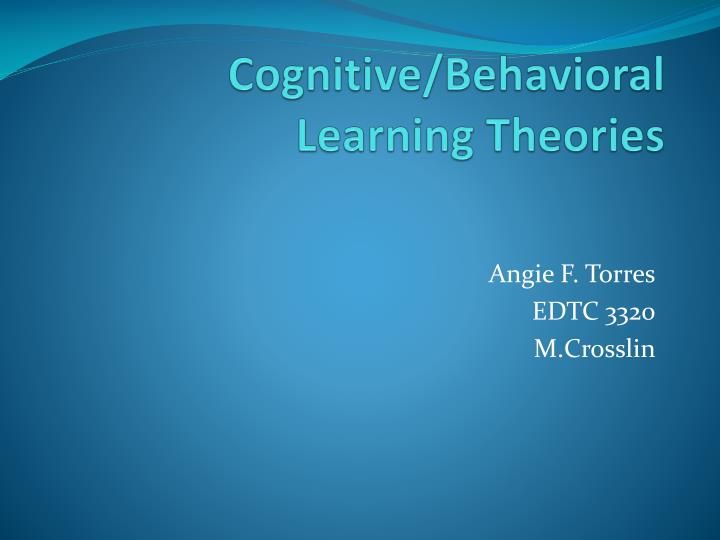 cognitive behavioral learning theories n.
