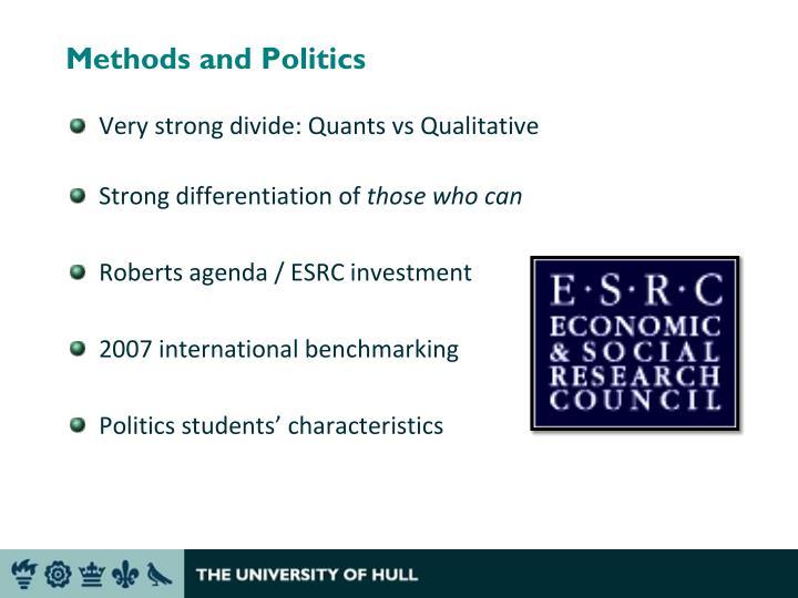 Methods and politics