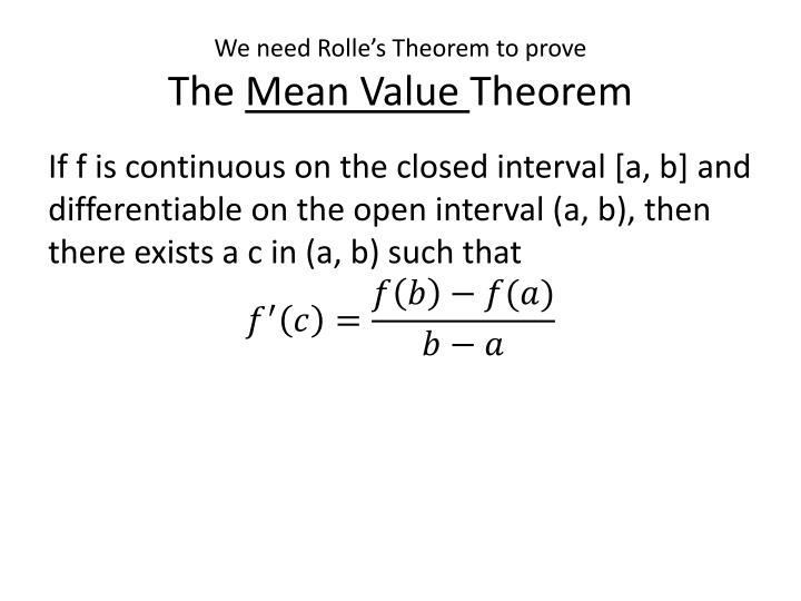 PPT - AP Calculus Section 3.2 Rolle's Theorem and Mean Value Theorem ...