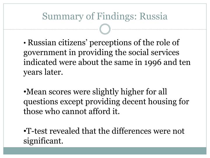 Summary of Findings: Russia