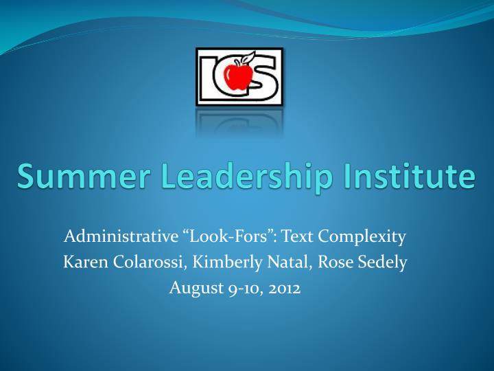 summer leadership institute n.