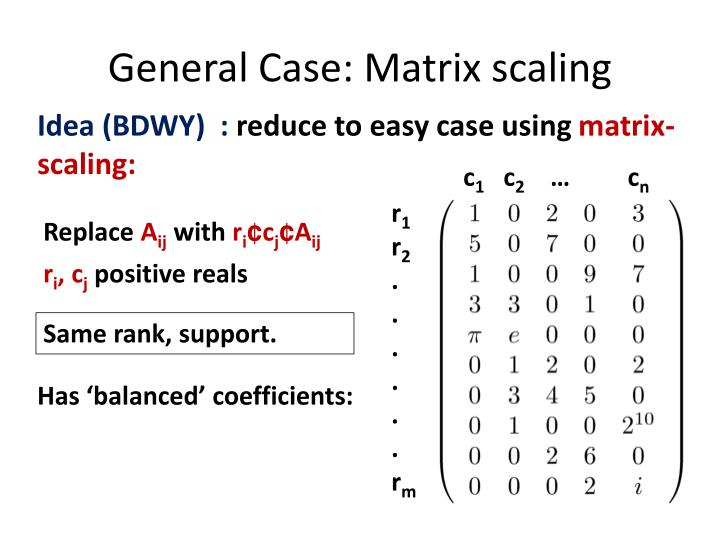 General Case: Matrix scaling