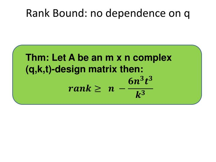 Rank Bound: no dependence on q
