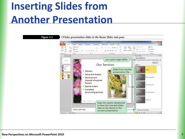 Inserting Slides from