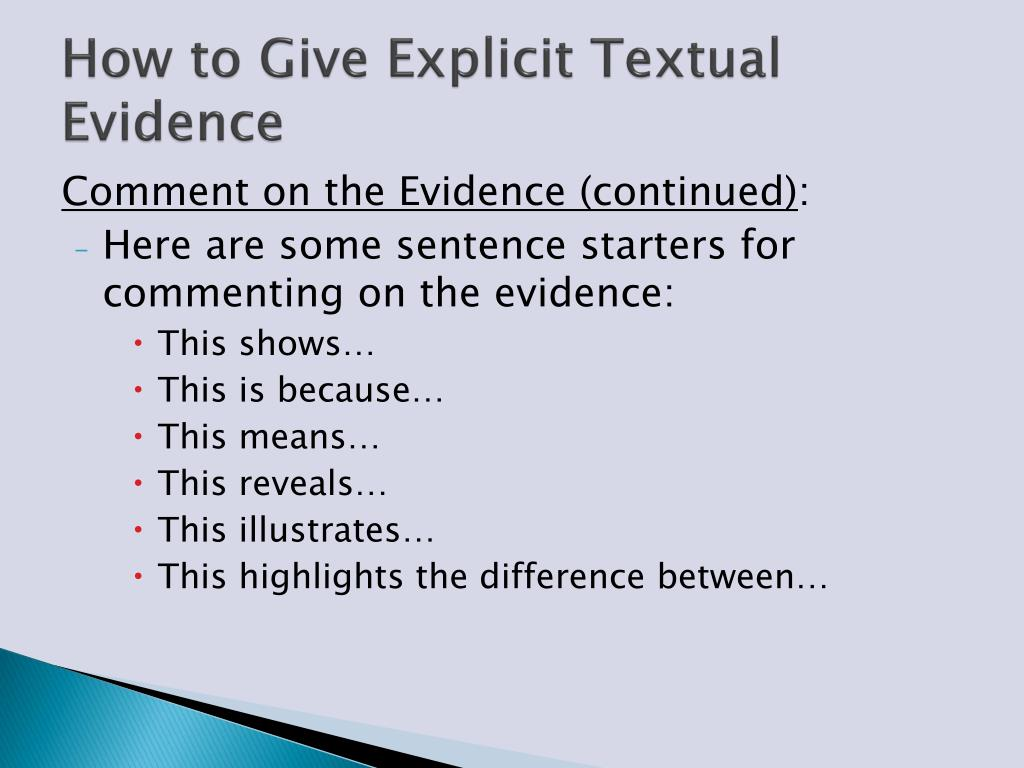 PPT - Citing Textual Evidence PowerPoint Presentation - ID