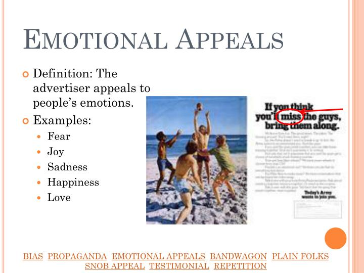 different types of advertising appeals Humor in advertising appeals to a fundamental aspect of human nature: we tend to buy things from people (or companies) we like, and using humor simplifies this process appeal to sexuality as they say in advertising, sex sells.
