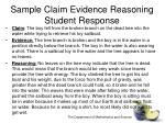 sample claim evidence reasoning student response
