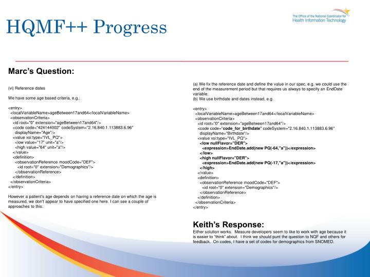 HQMF++ Progress