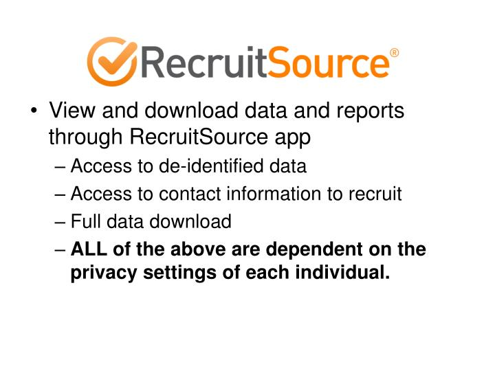 View and download data and reports through