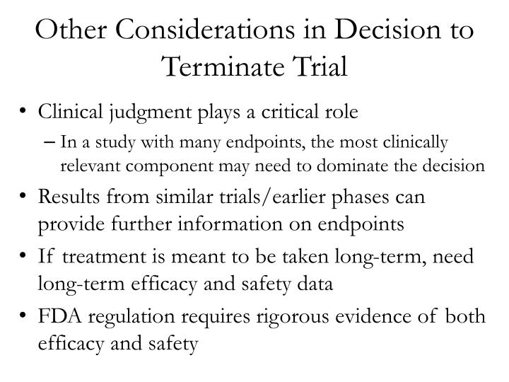 Other Considerations in Decision to