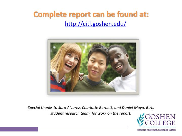 Complete report can be found at: