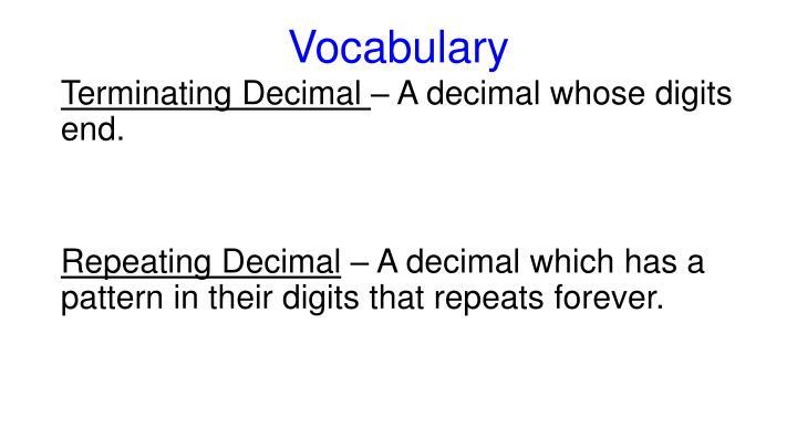 Terminating Decimal A Decimal Whose Digits End