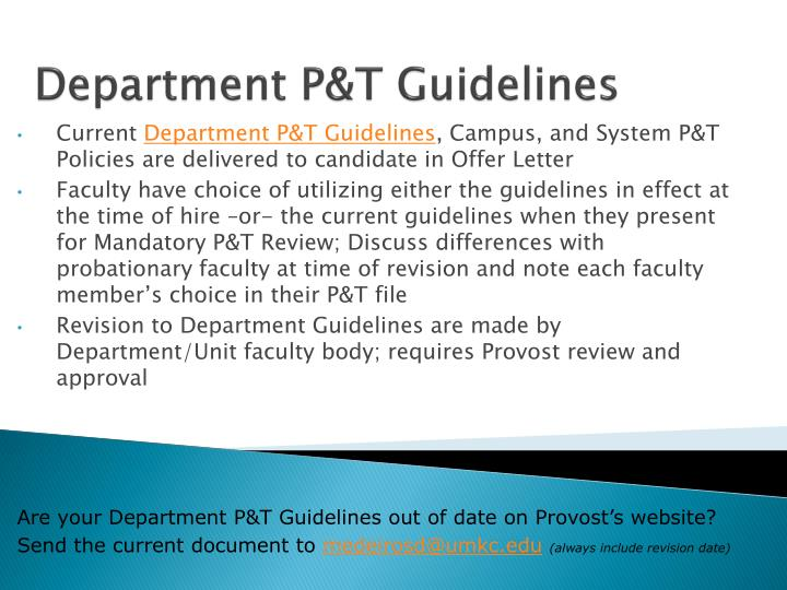 Department P&T Guidelines