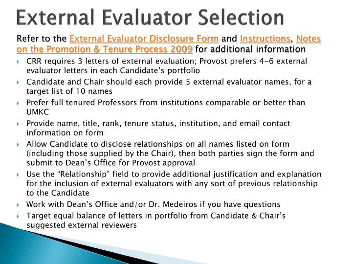 External Evaluator Selection