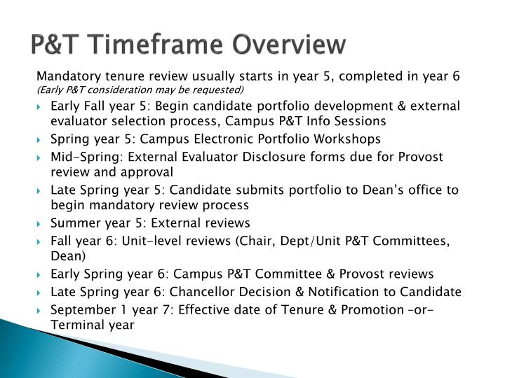 P&T Timeframe Overview