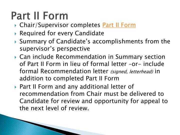 Part II Form