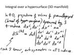 integral over a hypersurface 3d manifold