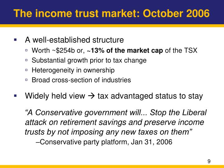 The income trust market: October 2006