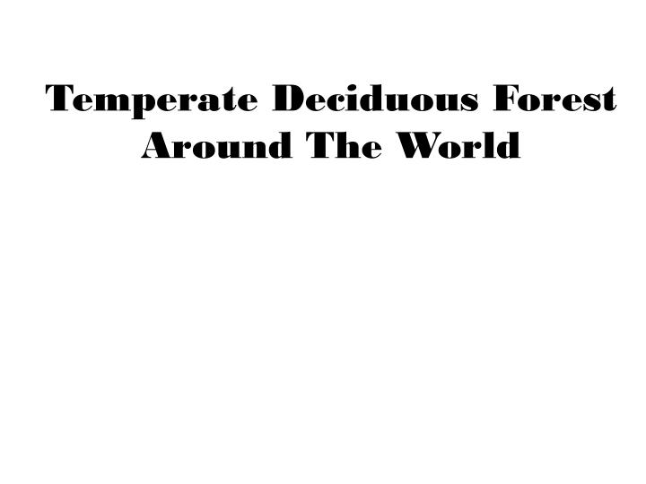 temperate deciduous forest around the world n.