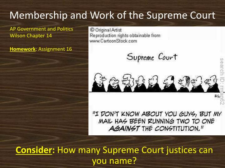 membership and work of the supreme court n.