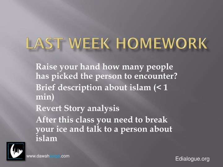 Last week homework
