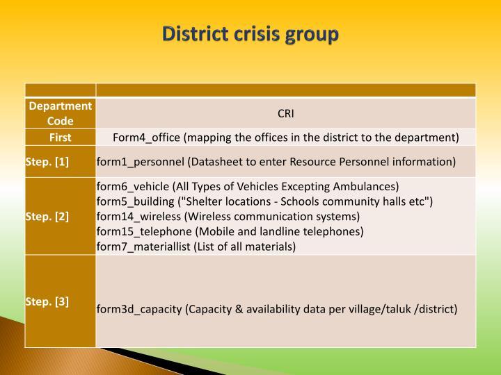 District crisis group