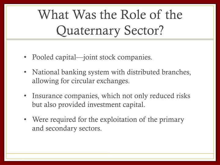 What Was the Role of the Quaternary Sector?