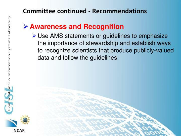 Committee continued - Recommendations