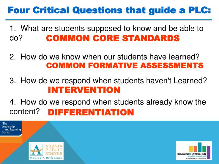 Four Critical Questions that guide a PLC: