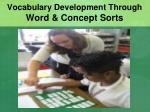 vocabulary development through word concept sorts