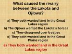 what caused the rivalry between the lakota and ojibwa