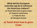 what did the european colonists not do to influence the american indians