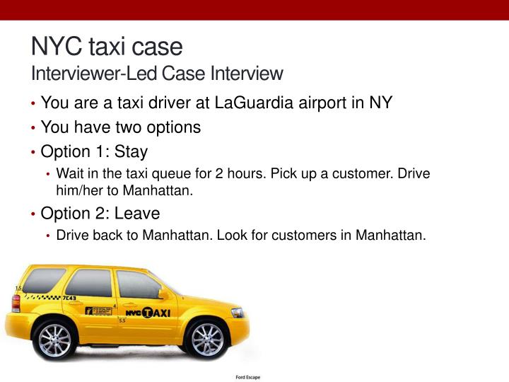 nyc taxi case interviewer l ed case interview n.