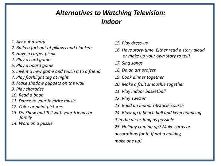 Alternatives to Watching Television: