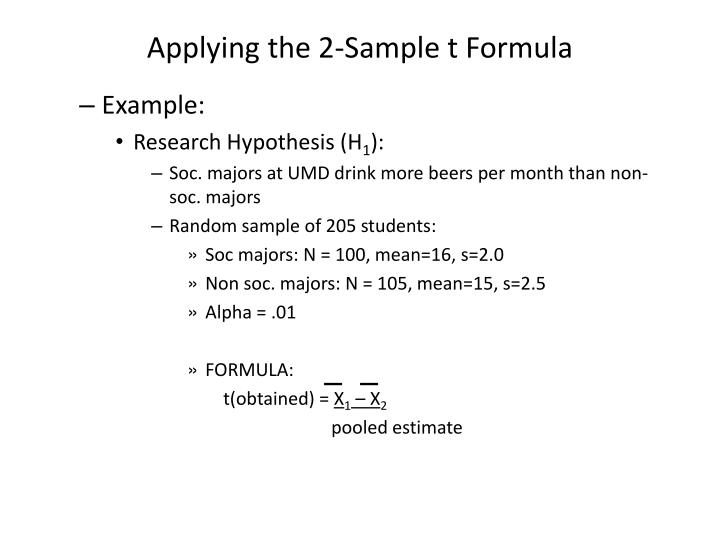 Applying the 2-Sample t Formula