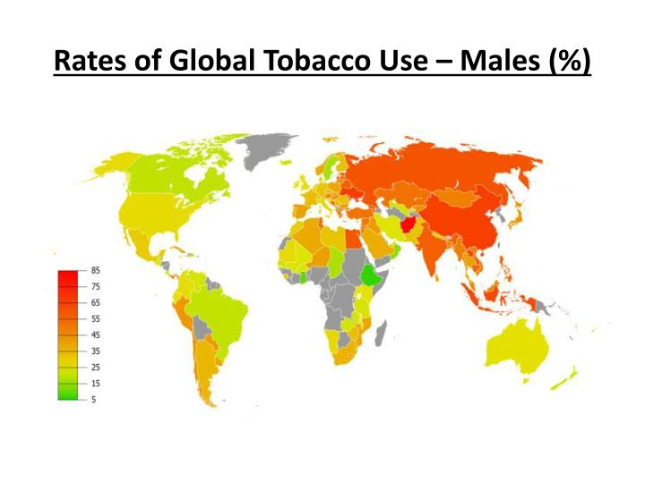 Rates of Global Tobacco Use – Males (%)