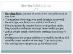 serving information