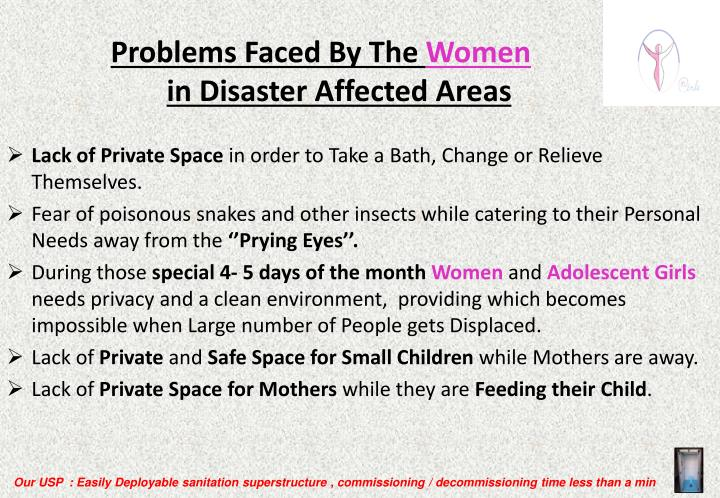 Problems faced by the women in disaster affected areas