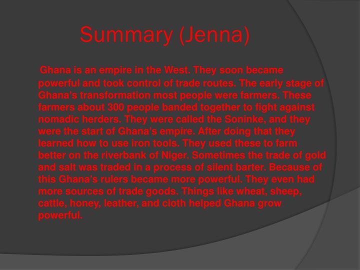 Summary jenna
