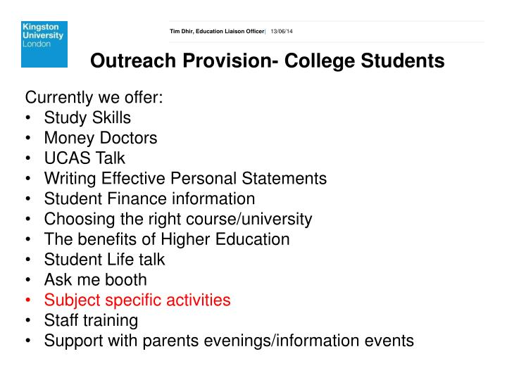 Outreach Provision- College Students