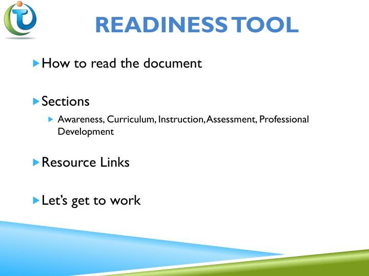 Readiness Tool