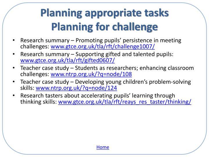 Planning appropriate tasks