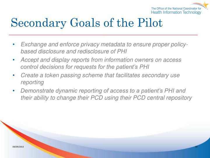 Secondary Goals of the Pilot