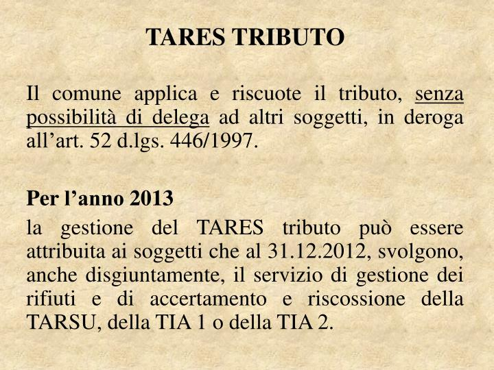 TARES TRIBUTO