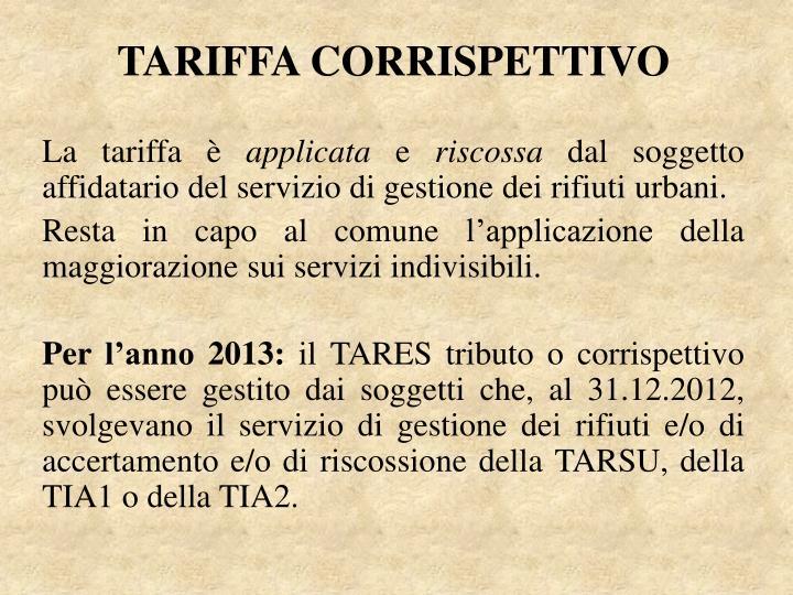 TARIFFA CORRISPETTIVO